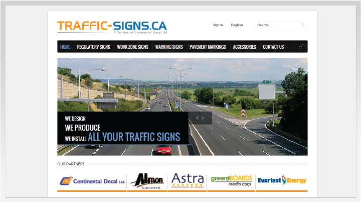 Traffic Signs eccommerce Website
